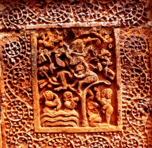 "Krishna Leela in terracotta (""Vastra Haran""), Ramchandra temple"