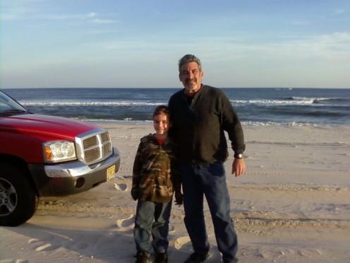 Me and my Grandson cruising the beach at Holgate, Long Beach Island.