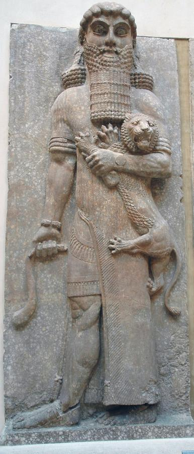 Gilgamesh the legendary hero, shown on a relief from the Assyrian capital Khorsabad
