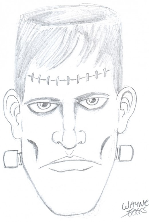 A quick pencil drawing of Frankensteins monster....Draw some creatures you know about.