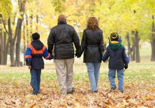 Family walk at the park.