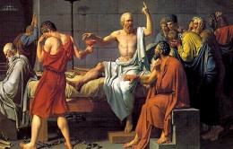 Though this scene is not in the Apology, it is of Socrates about to drink the poison that was sentenced him in the Apology.