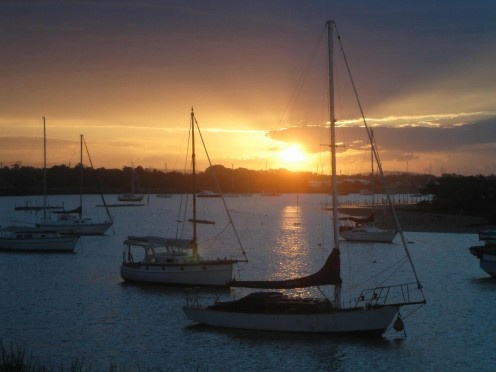 Sunset over the Clarence at Yamba Harbour