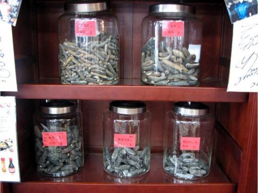 Premium grade sea cucumbers enclosed in air-tight glass jars.