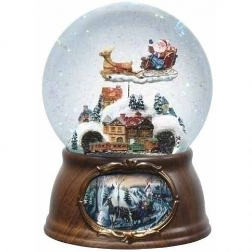 "7"" Musical Rotating Santa Claus with Train Christmas Snow Globe Glitterdome"