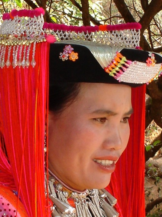 Ging Kaew, sister of Pi Ouan, in her traditional New Year's outfit that she made herself.