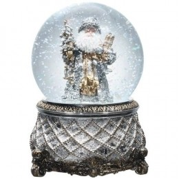 Christmas Morning Silver Santa Musical Snow Globe Glitterdome