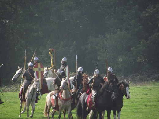 A re-enactment of norman knights
