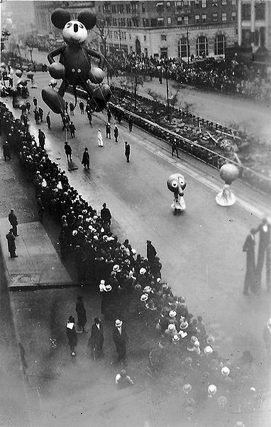 The Macy's Thanksgiving Day Parade is in it's 84th year in 2010.  This photo dates from 1934, the first year Mickey Mouse appeared in the parade, then called the Macy's Christmas Parade.