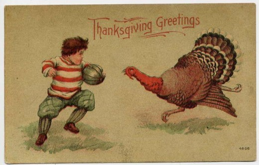Thanksgiving and football have long gone hand-in-hand, as evidenced by this circa 1900 postcard.