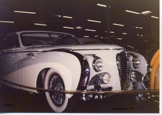 A magnificent  and rare Delahaye at Harrah's collection in Reno Nevada. This one has a solid glass roof and christal knobs on the switches. (copyright.)