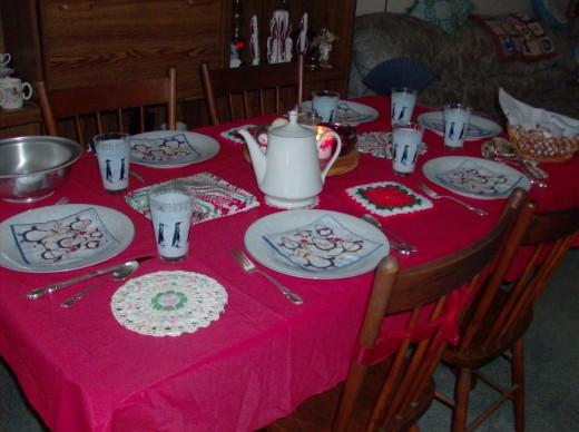 Our Christmas dinner table, 2009