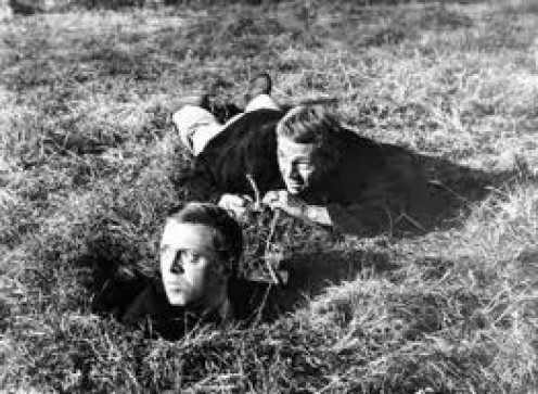 Scene from the Great escape, the discovery that they're tunnel is too short!