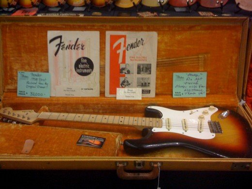 An original 1958 Stratocaster in case, taken at the SXSW Music Conference and Festival.