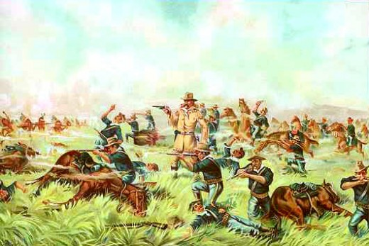 An 1899 chromolithograph from the Werner Company of Akron, Ohio entitled Custer Massacre at Big Horn, Montana  June 25, 1876.