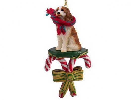King Charles Cavalier Spaniel Dog Candy Cane Christmas Ornament. Born beautiful! This is one of many - there are many breeds available - and there are cats too!