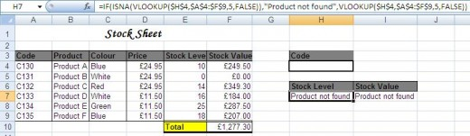 IF function displaying a different message when the Vlookup value is not found