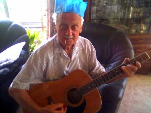 Opa, today, still playing and singing, Happy Days
