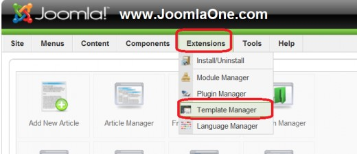 Finding Joomla Template Manager