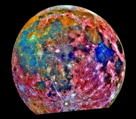 The Moon. Spectrum scanned and color coded to display composition differences.