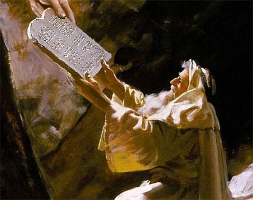 Moses receiving the Ten Commandments