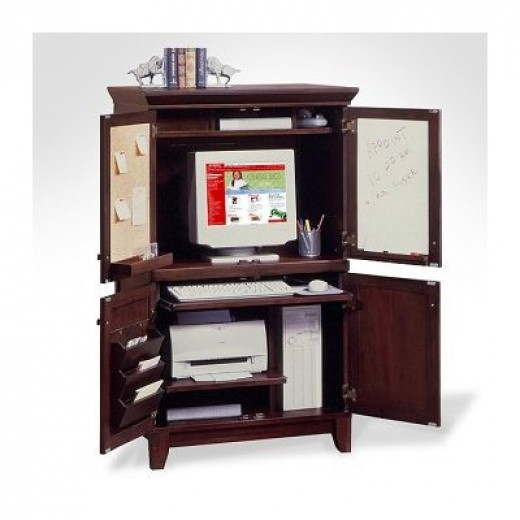 Coffee Finish Computer Armoire