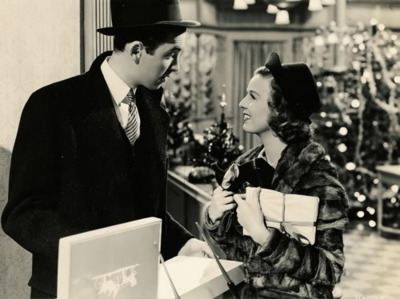 "James Stewart and Margaret Sullavan in ""The Shop Around the Corner."""