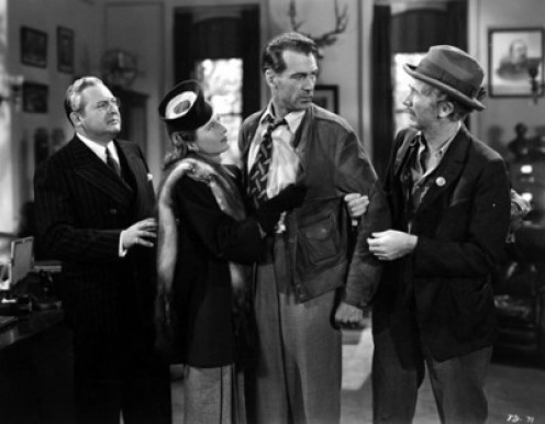"Edward Arnold, Barbara Stanwyck, Gary Cooper and Walter Brennan in ""Meet John Doe."""