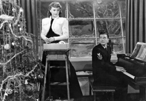 "Barbara Stanwyck and Dennis Morgan in ""Christmas in Connecticut."""