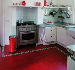 Marmoleum floor in a kitchen.  Image via Linoleumstore.com