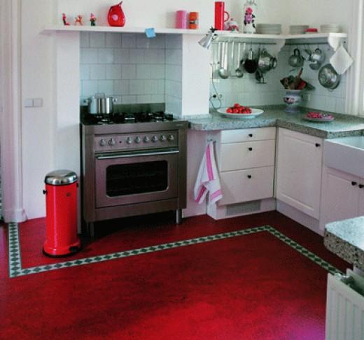 Marmoleum floor in a kitchen.  Image via Linoleumstore.com