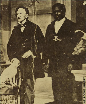 Dr James Barry (left) with a servant and his dog Psyche, c. 1862, Jamaica. Image Wikipedia