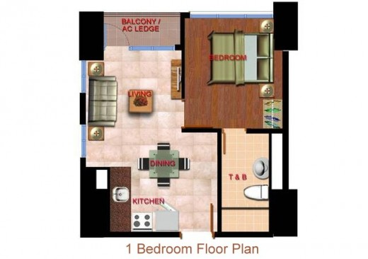 1-bedroom unit plan
