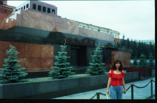 Bella in Front of Lenin's Tomb on Red Square in Moscow, Russia