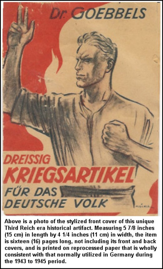 This pamphlet details the Nazi version of the Articles of War that differ radically from those of other nations.