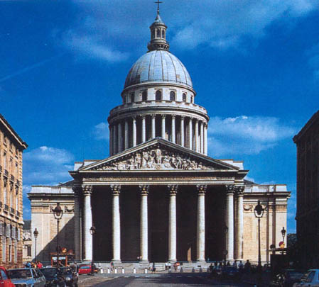 Soufflot's Pantheon in Paris - Soufflot was one of France's first truly neo-classical architects. He studied in Rome and then upon his return to Paris was influential in spreading the style in France. Corinthian columns to support the pediment.