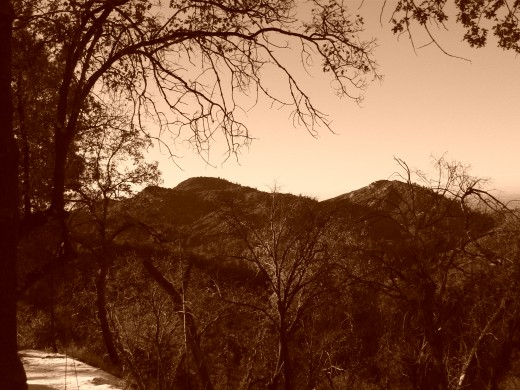 Another picture of the San Bernardino Mountains in sepia tones.