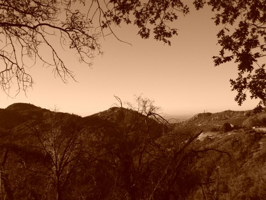 Sepia colored photograph of the view looking down towards Hesperia.