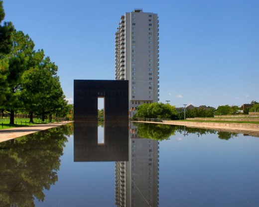 View of The Gates of Time and the Reflecting Pool at the Oklahoma City National Memorial and Museum