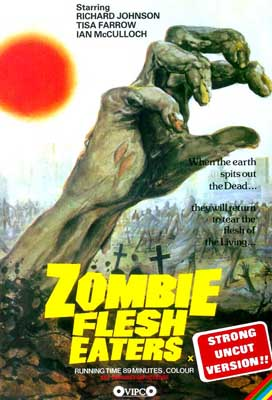 With it's excellent theme music and yes - a fight between a zombie and a shark! Zombie Flesh Eaters...