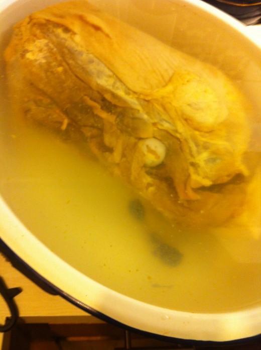 ham soaking in a tub