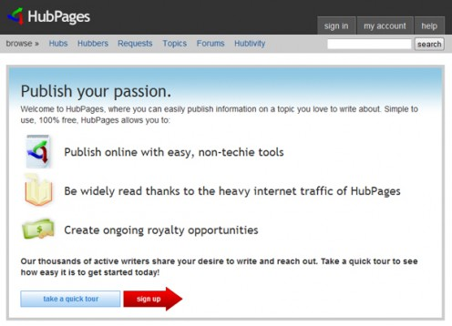 HubPages screenshot