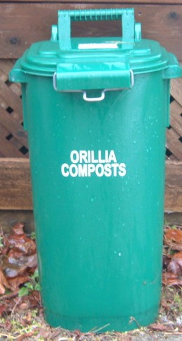 Compost Container or a Garbage can that is marked clearly in large letters YARD WASTE can be used if you do not have a container such as this one.
