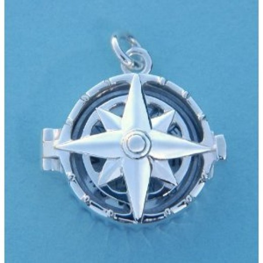 Sterling Silver Compass Rose Locket with Working Compass