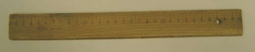 A wooden scale