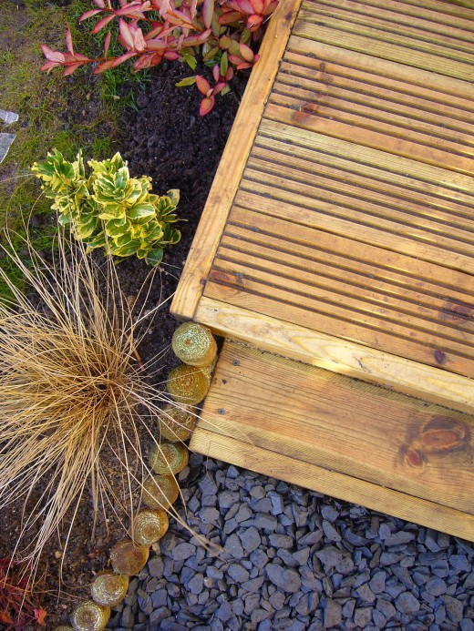 Garden edging can be used in garden design.