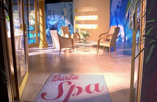 "Barbie spa entrance with welcome / entry rug ""Barbie Spa"""