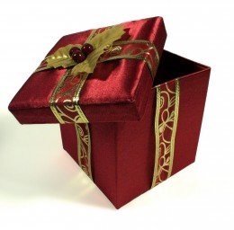 Ribbon can be used to dress up a plain box.
