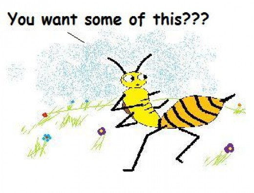Typical bee bravely defending herself with a dash of attitude.
