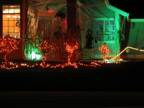 Look for houses with the porch light on, or other clues to indicate someone is home and ready to give candy.